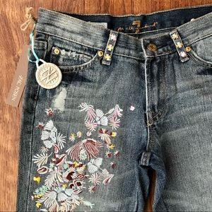 NWT Zac Posen 7FAM Flared Embroidered Jeans